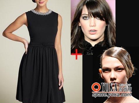 完美发型让简单黑色小礼服魅力升级图片