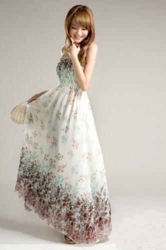 首页碎花雪纺吊带长裙  碎花雪纺吊带长裙高清图片