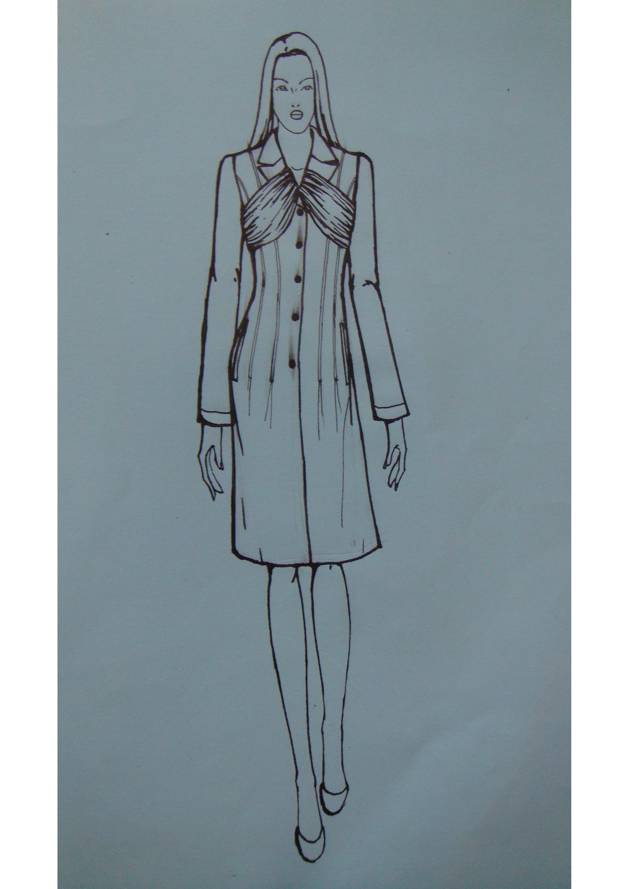 风衣外套手绘设计图
