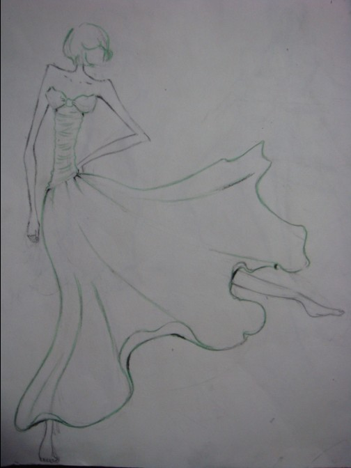 手绘芭蕾舞女孩铅笔画