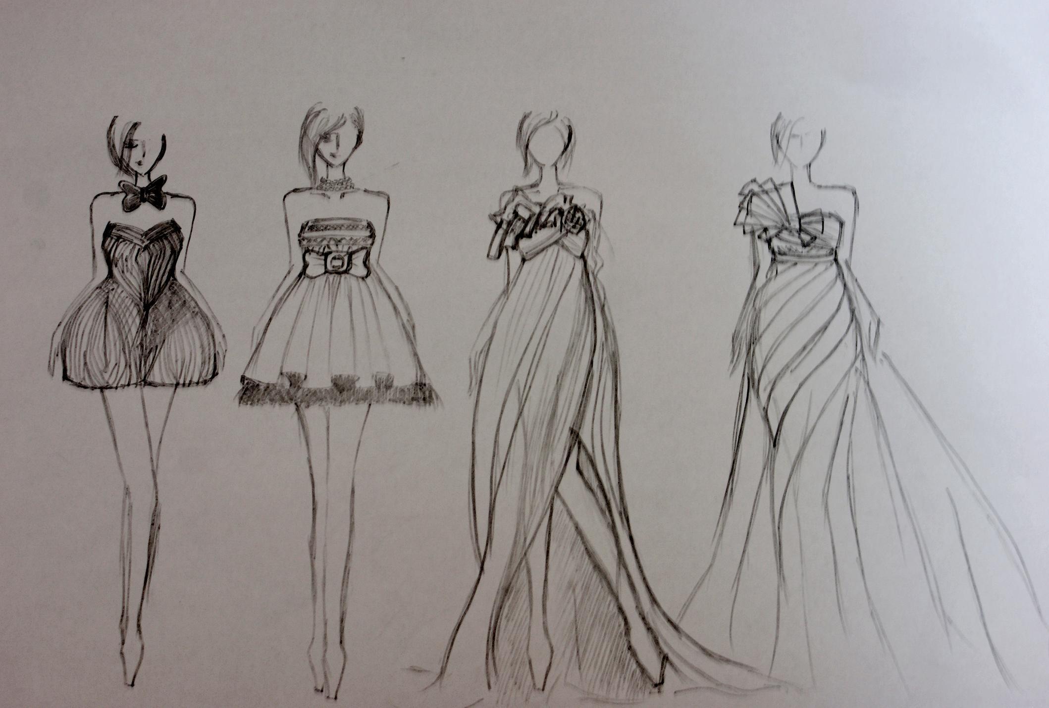 手绘晚礼服设计图铅笔画_手绘晚礼服设计图铅笔画