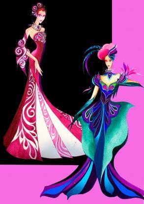 晚会歌手服装设计图图片