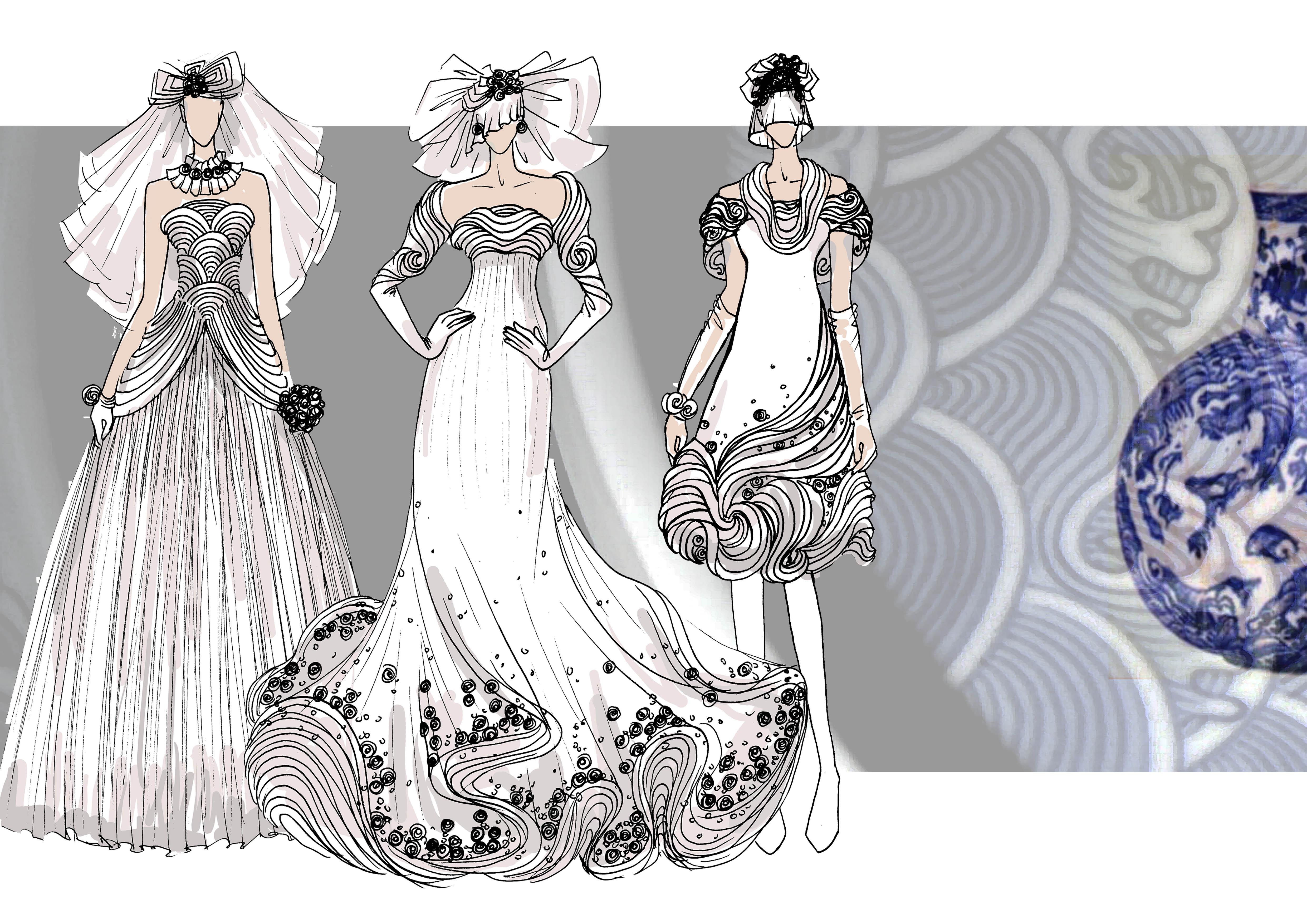 手绘服装设计图铅笔画展示