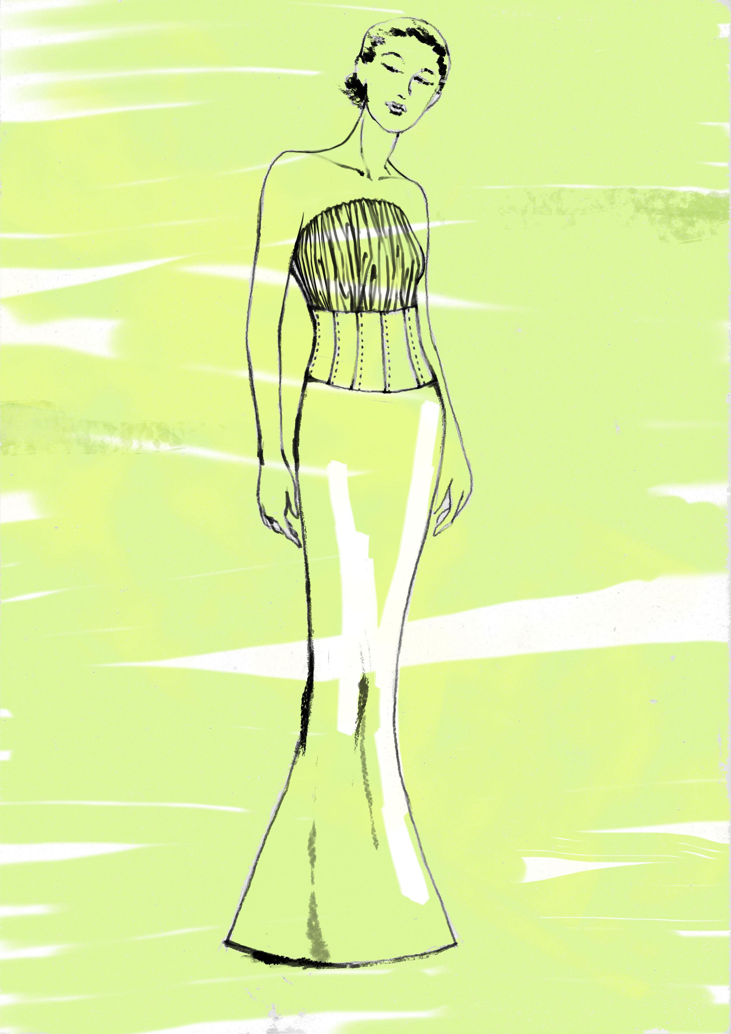 鱼尾婚纱手绘图;
