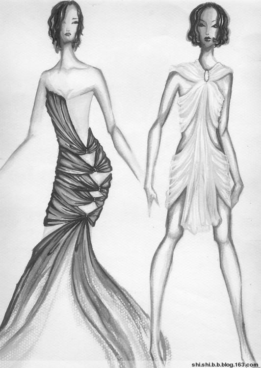 晚礼服装设计图素描展示