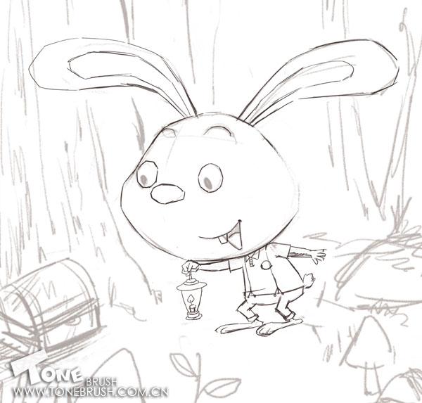 [转载]ps插画--森林里的小兔子原创步骤
